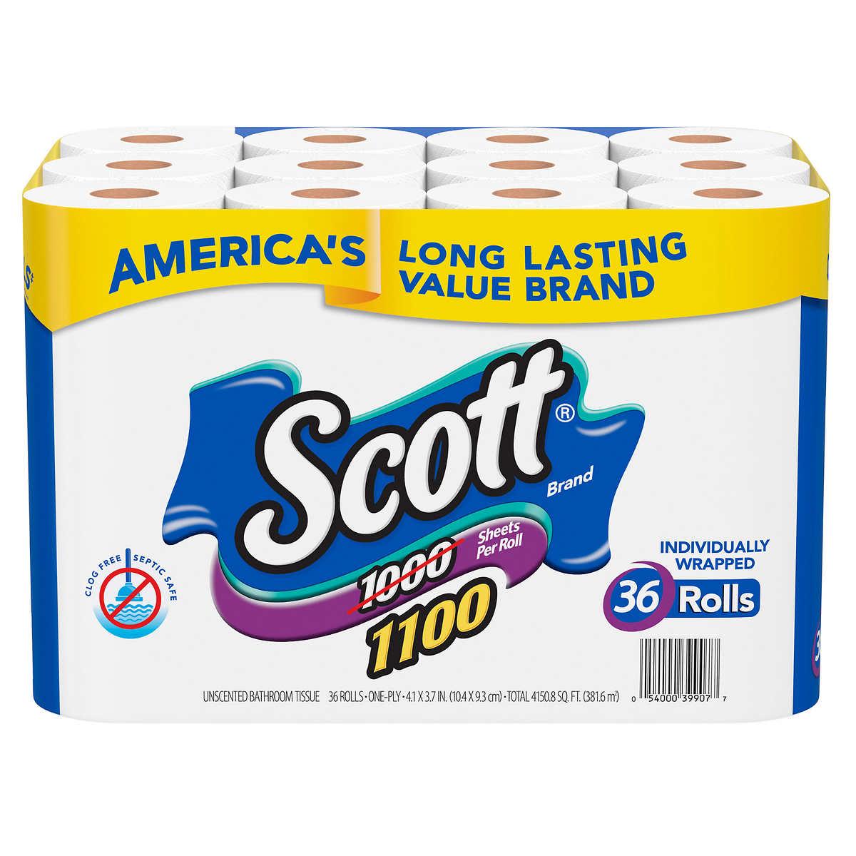 scott bath tissue bonus 36 pack