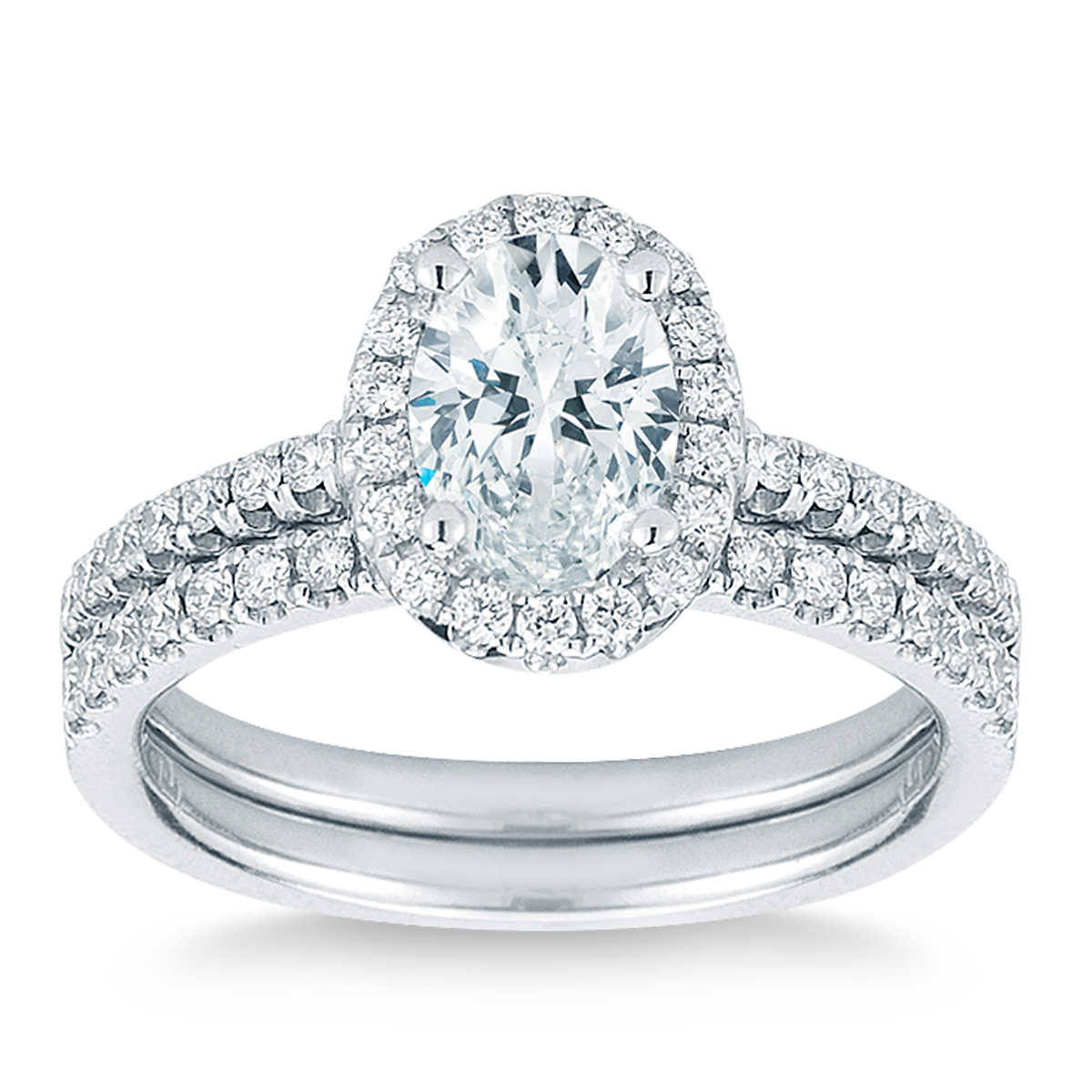 Oval & Round Brilliant 150 Ctw Vs2 Clarity, I Color Diamond Platinum  Wedding Set