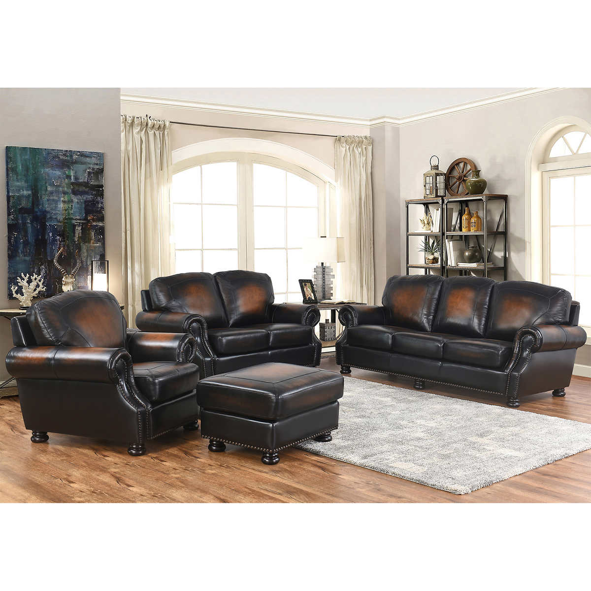Ellis 4-piece Top Grain Leather Living Room Set