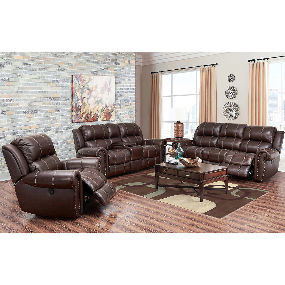 Top grain leather sofa costco leather sofas sectionals for Best value living room furniture