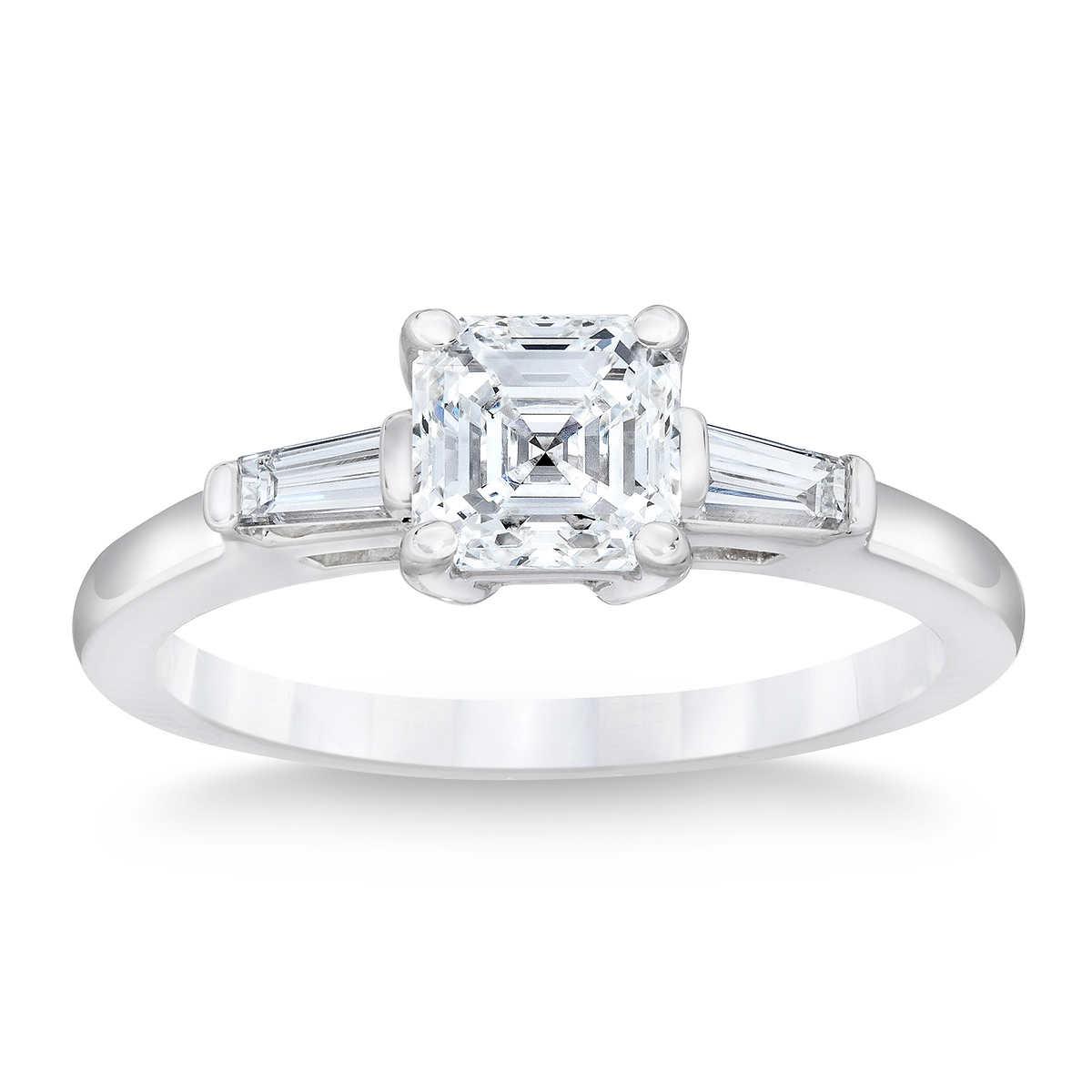 engagement wedding ring Square Emerald Cut 2 69 ctw VS2 Clarity E Color Diamond Baguette Platinum Ring