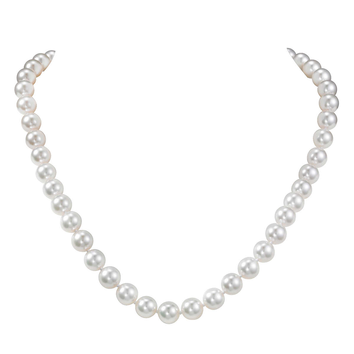 Akoya 8  85mm Cultured White Pearl 14kt White Gold Ball Clasp Necklace