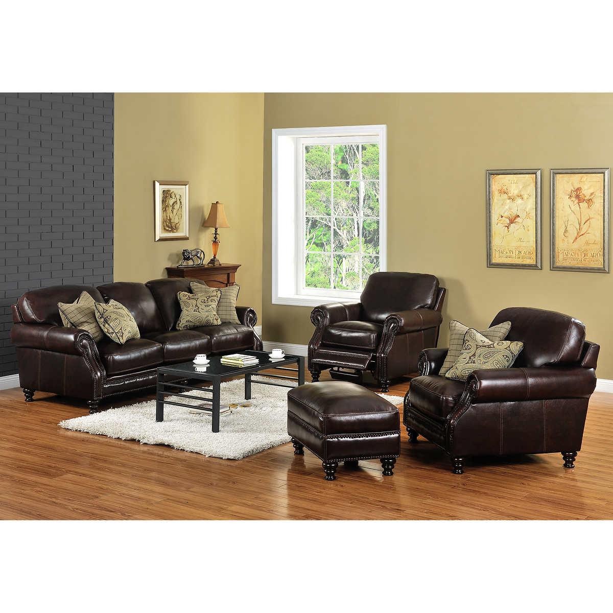 Wayport 4-piece Top Grain Leather Living Room Set- With Recliner - Recliners Costco