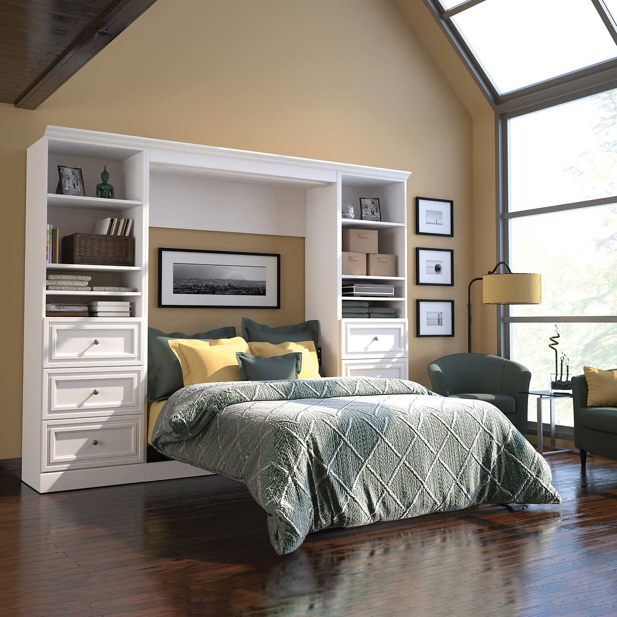 Bestar Audrea Queen Wall Bed in White with two 25\