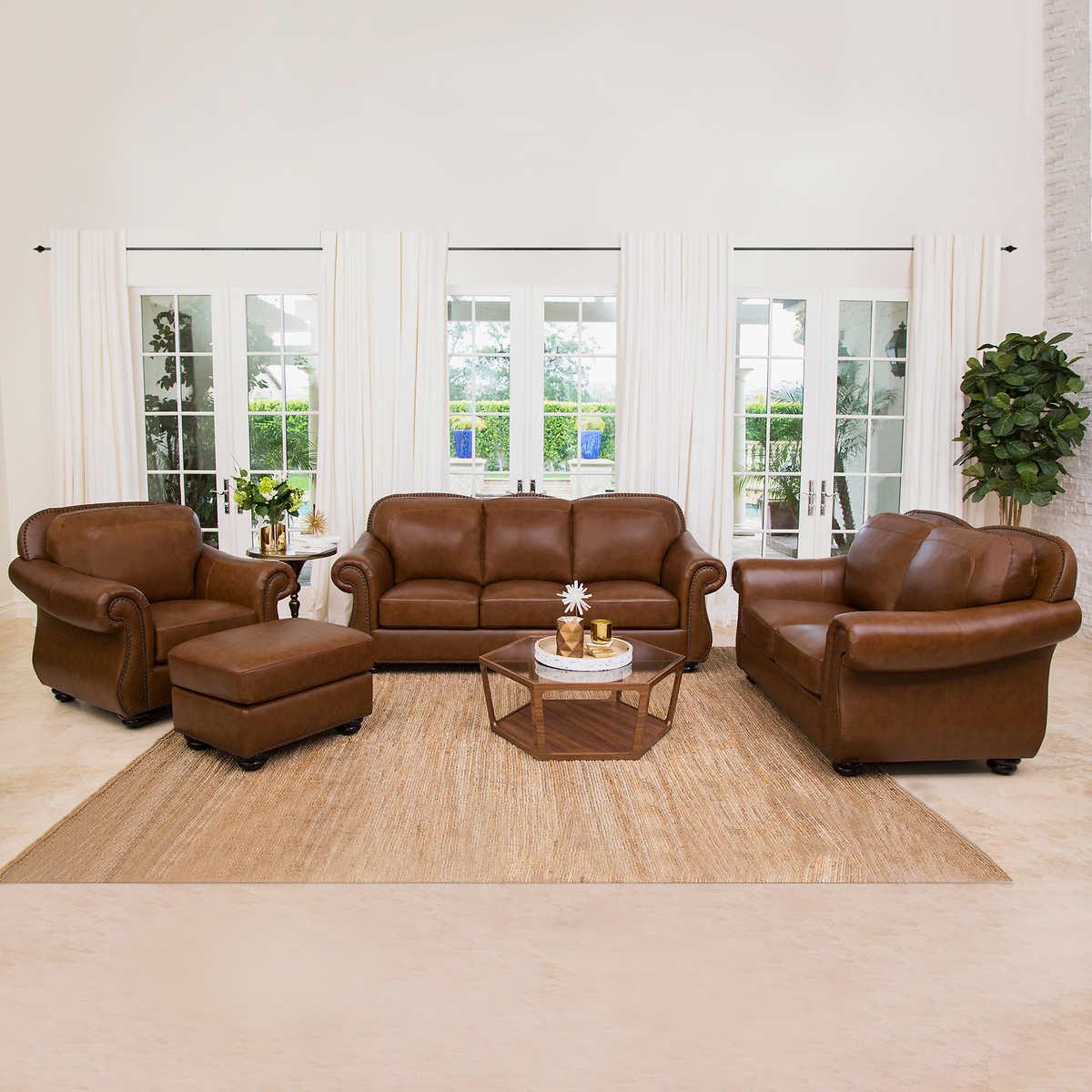 Clarke 4-piece Top Grain Leather Living Room Set