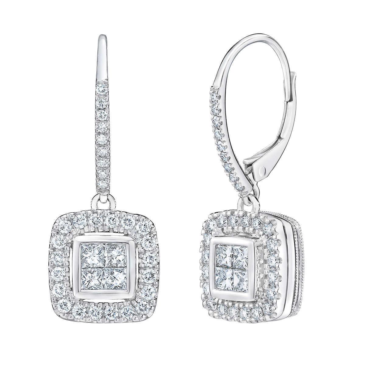Princess Cut & Round Brilliant 098 Ctw Vs2 Clarity, I Color Diamond 14kt  White Gold