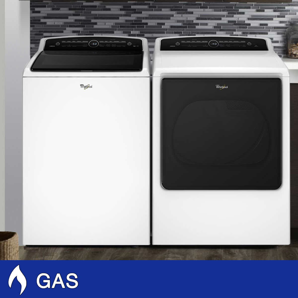 Whirlpool 5 3cuft Cabrio High Efficiency Washer With Precision Dispense And 8 8cuft Gas Dryer Quad Baffles In White