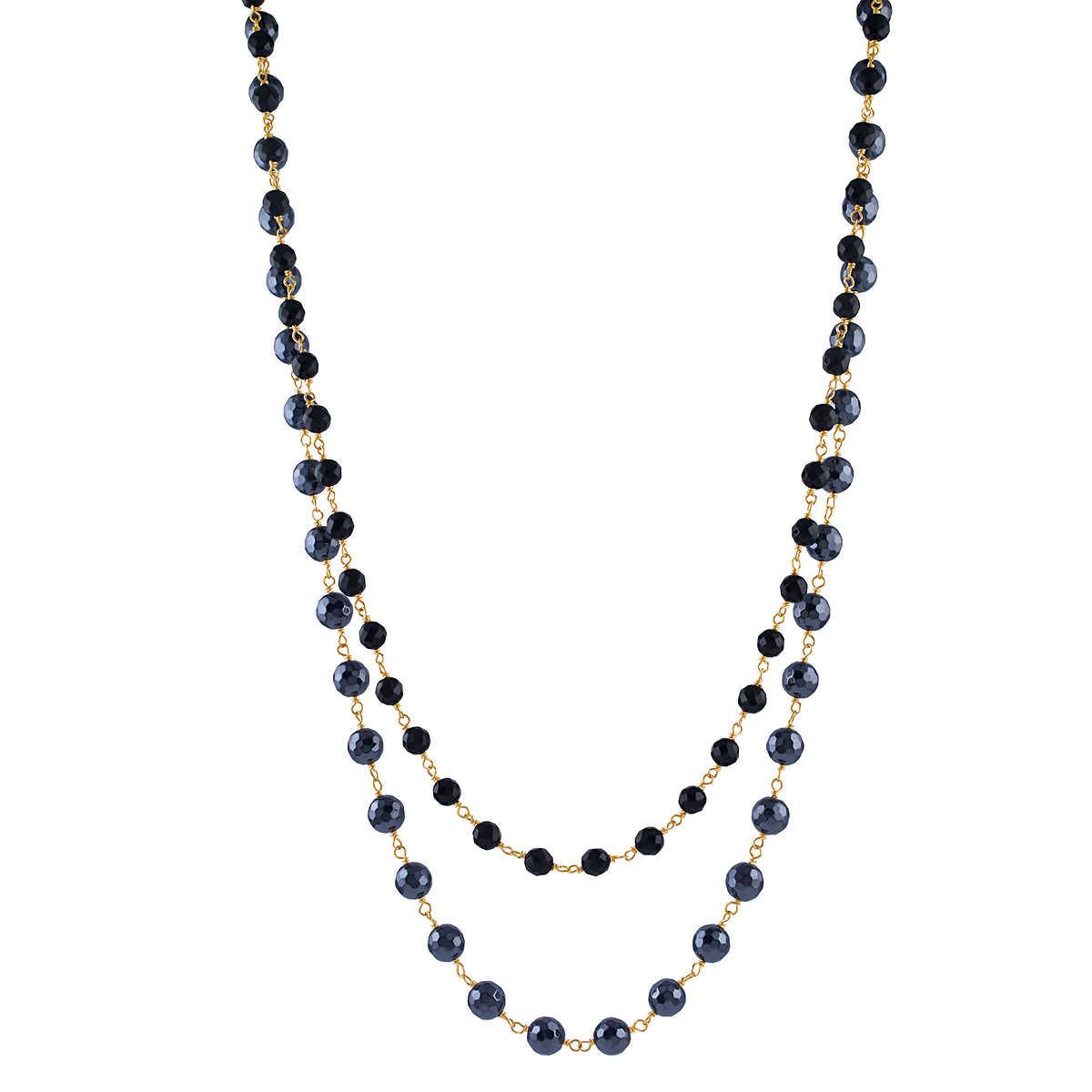 164e2829e45fb4 Hematite and Black Onyx 14kt Yellow Gold Necklace