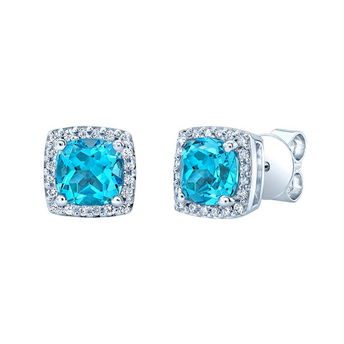 Swiss Blue Topaz And Diamond 14kt White Gold Earrings Item #781497 Click  To Zoom