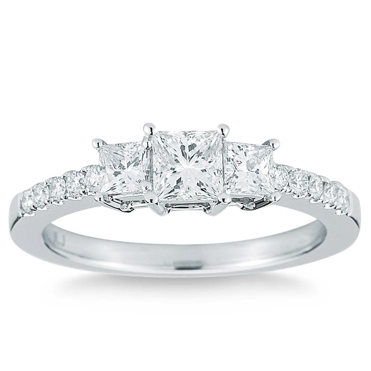 Princess Cut & Round Brilliant 100 Ctw Vs2 Clarity, I Color Diamond 14kt  White Gold