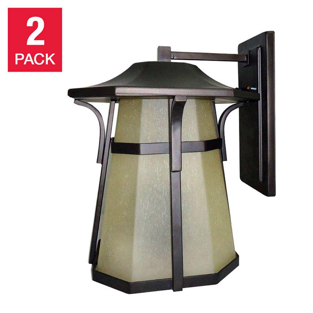 Solar patio lights costco - Litex Outdoor Wall Light Fixture Aged Bronze Coach Lamp 2 Pack