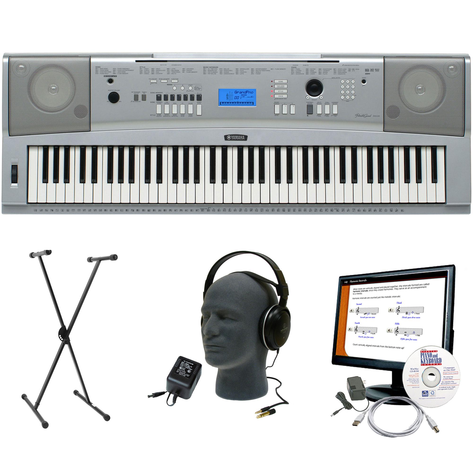yamaha dgx 230 76 key keyboard bundle ebay