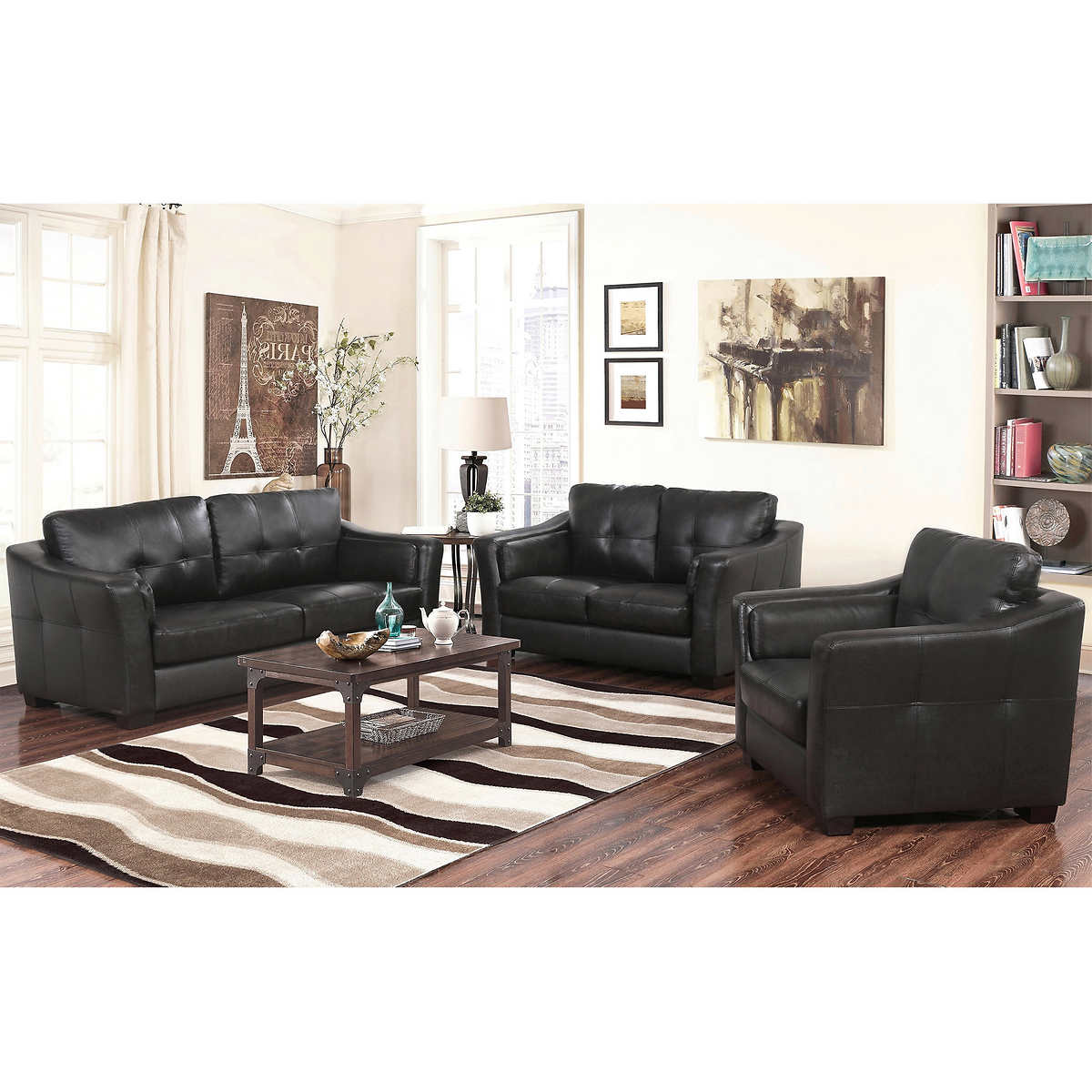 Top Grain Leather Living Room Set Lincoln 3 Piece Top Grain Leather Living Room Set