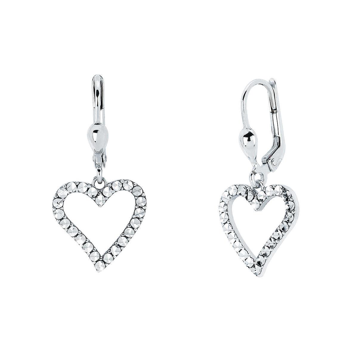 White Gold Heart Shaped Diamond Cut Dangle Earrings