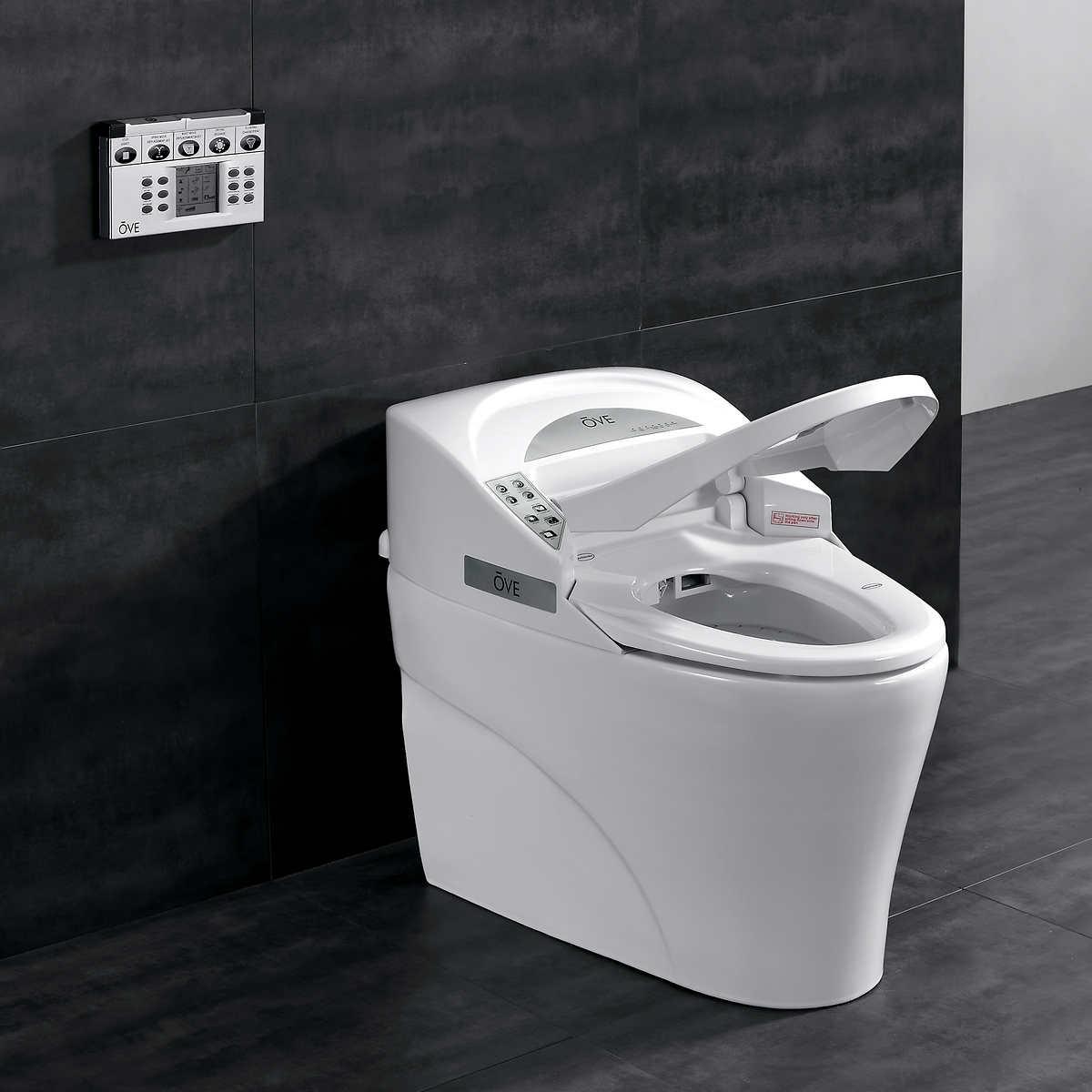 Toilets Costco - White toilet with black seat