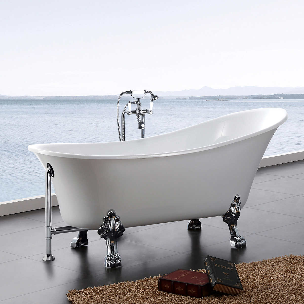 "Hibana 69"" Acrylic Clawfoot Tub With Faucet And Handheld"