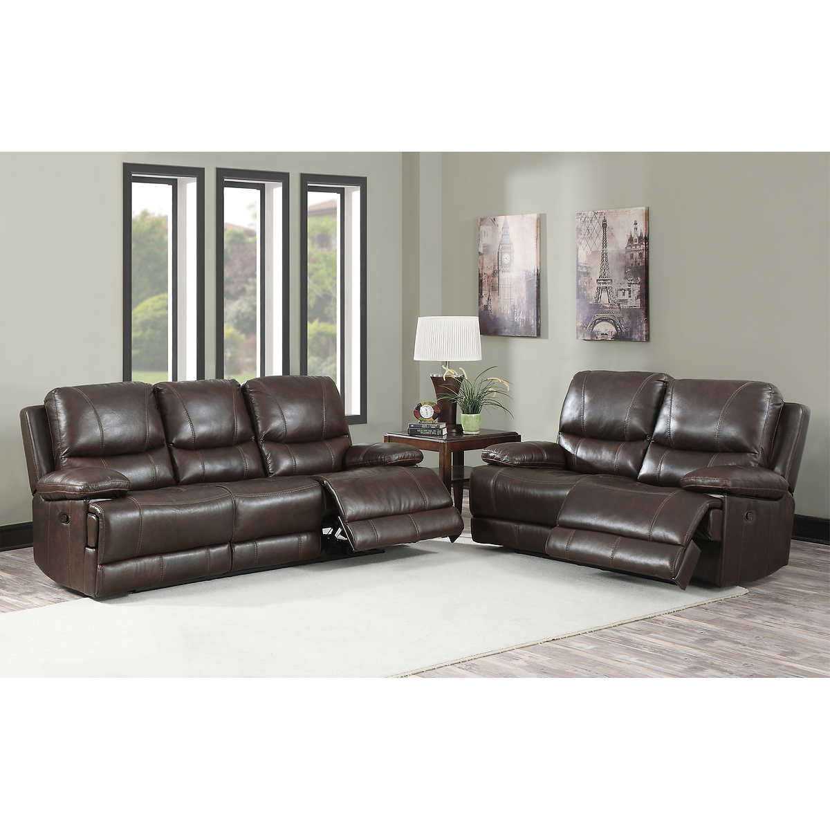 Maren 2-Piece Top Grain Leather Reclining Set