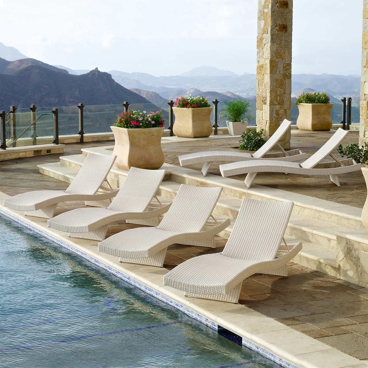 Portofino Comfort Woven Wave Loungers 6-pack in Chalk - Portofino Costco