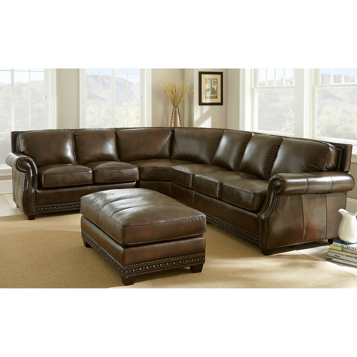 Leather Sofas   Sectionals   Costco Hampton Court Top Grain Leather Sectional and Ottoman. Costco Living Room. Home Design Ideas