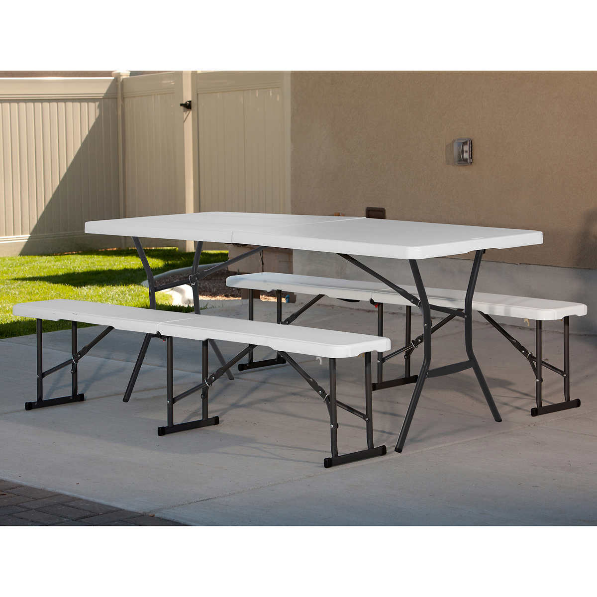 8 ft fold in half table - Lifetime 6 Ft Fold In Half Table With 2 Fold In