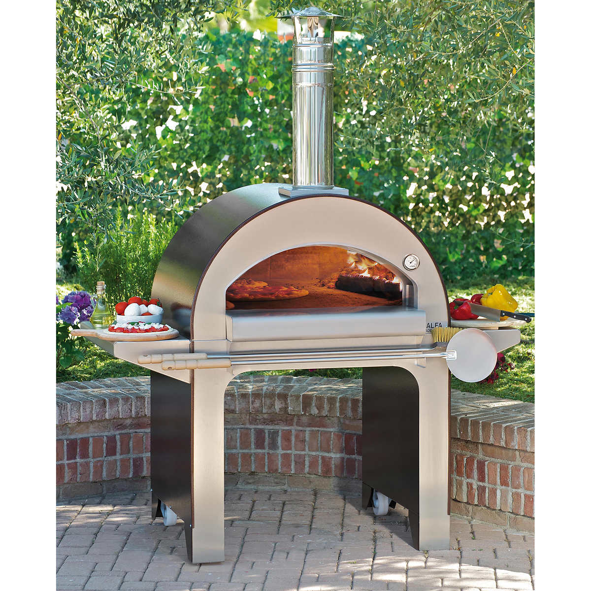 Portable wood fired pizza oven for sale - Alfa Forno 4 Italian Wood Fired Oven Cart