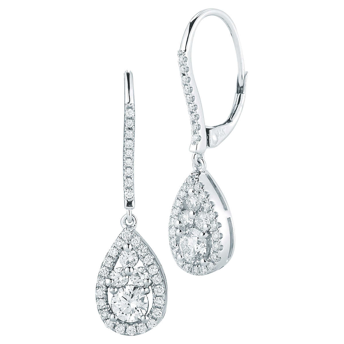 Round Brilliant 095 Ctw Vs2 Clarity, I Color Diamond 14kt White Gold Tear Drop  Earrings