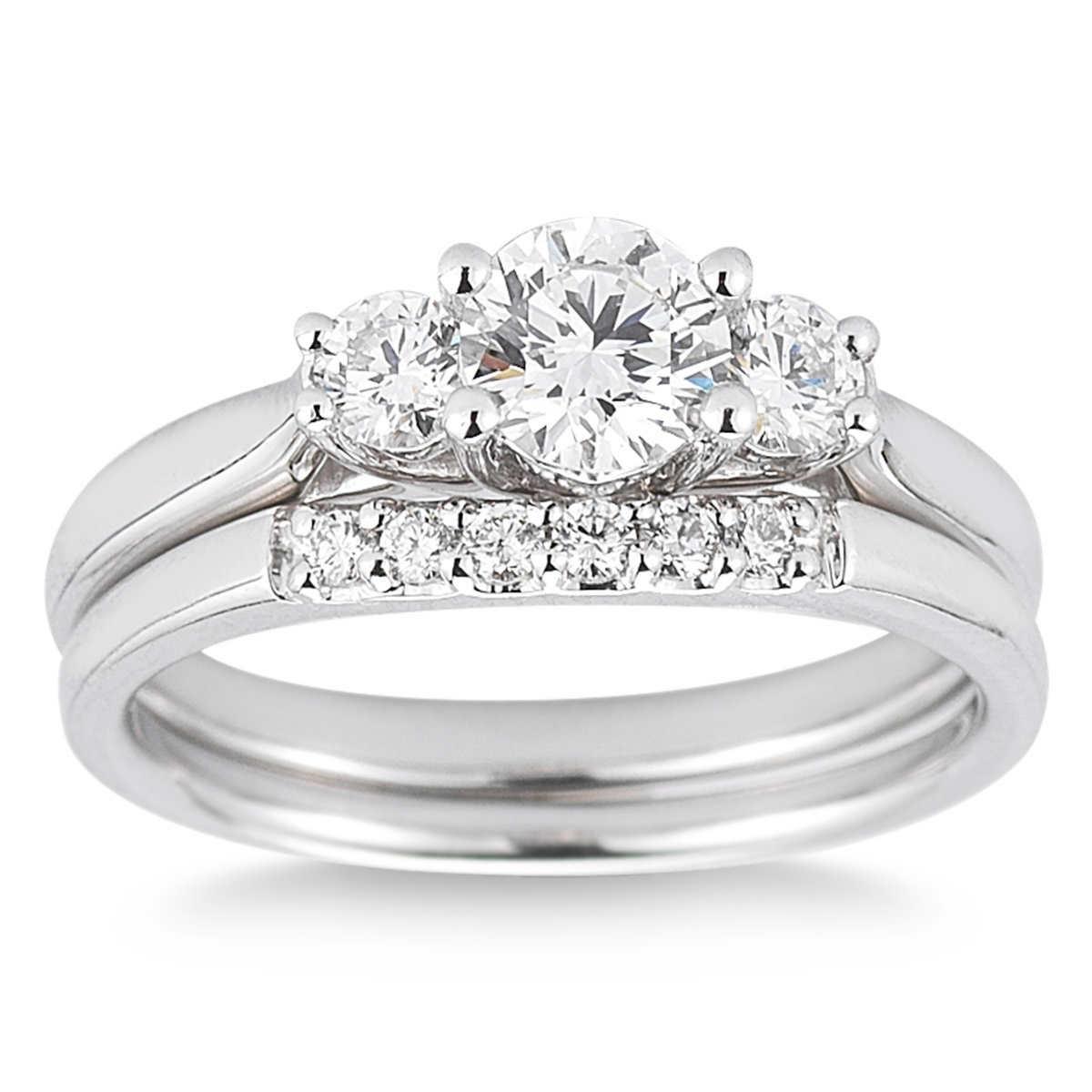 Round Brilliant 100 Ctw Vs2 Clarity, I Color Diamond Platinum Three Stone  Wedding Set