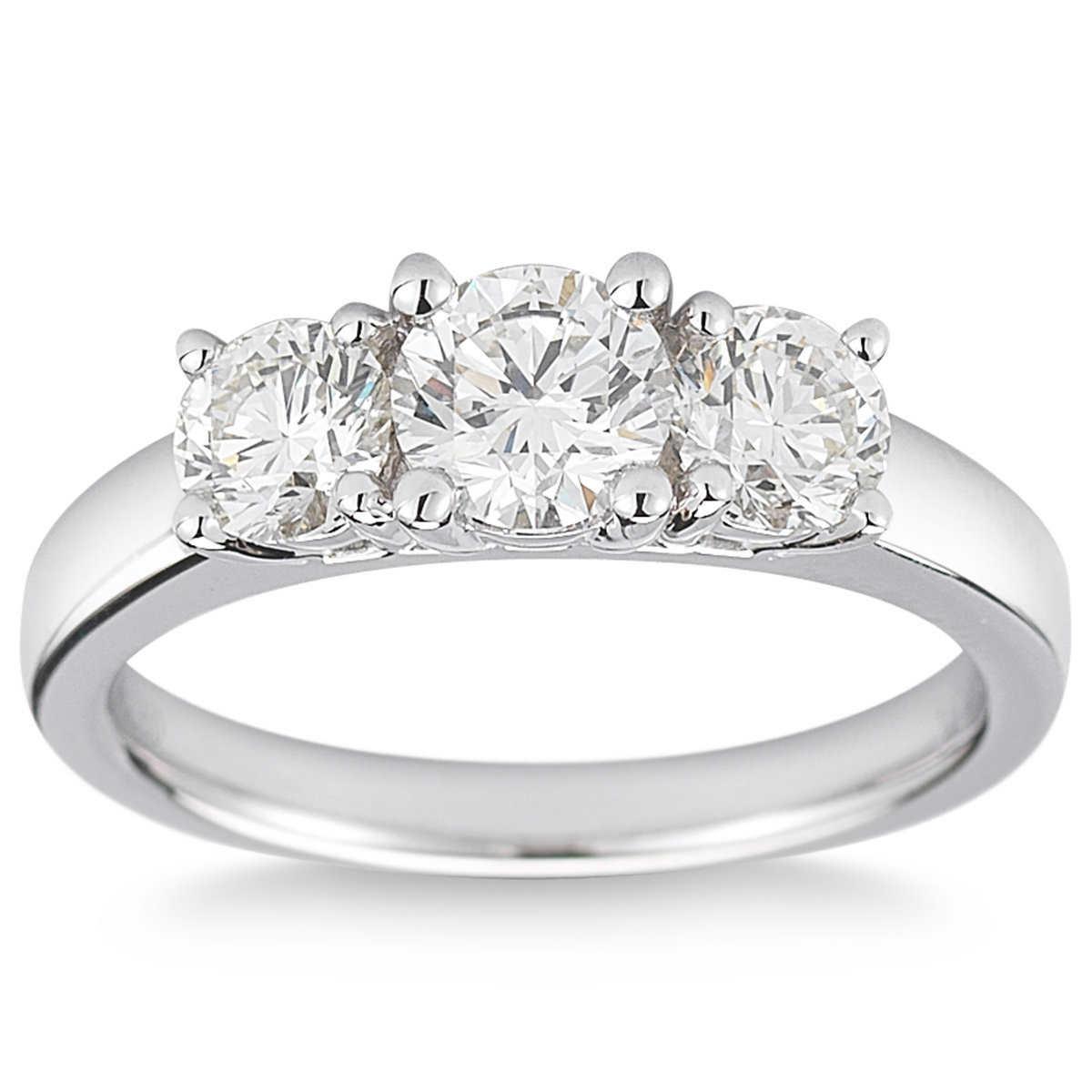 Round Brilliant 150 Ctw Vs2 Clarity, I Color Diamond Platinum Three Stone  Ring