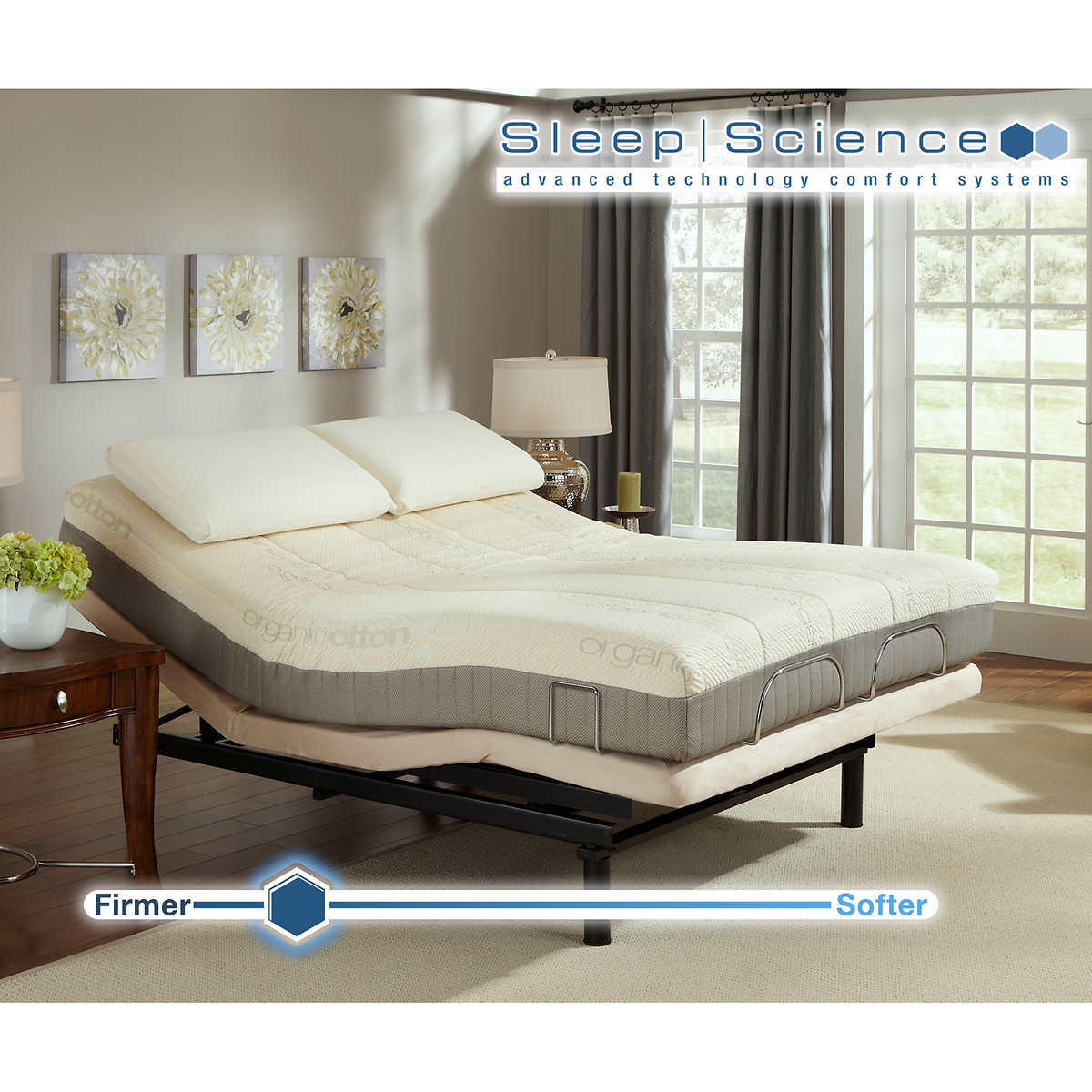 sleep science 9 natural latex queen mattress with adjustable power base medium firm - Adjustable Queen Bed Frame