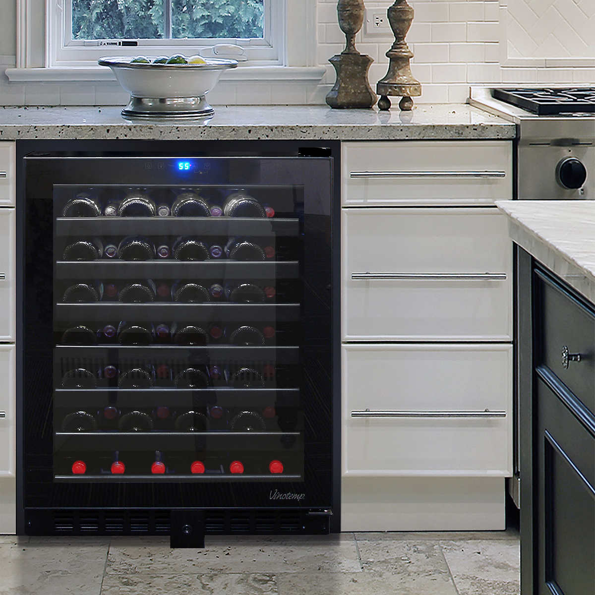 Vinotemp 54-Bottle Built-in or Free-Standing Touch Screen Wine Cooler VT