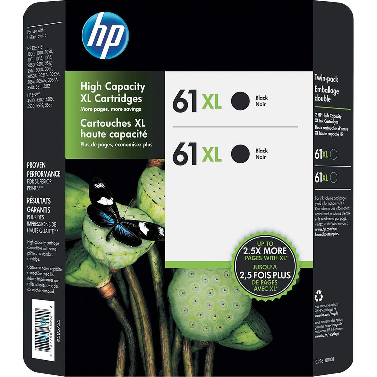 HP 61XL High Yield Ink Cartridge, Black, 2-Count