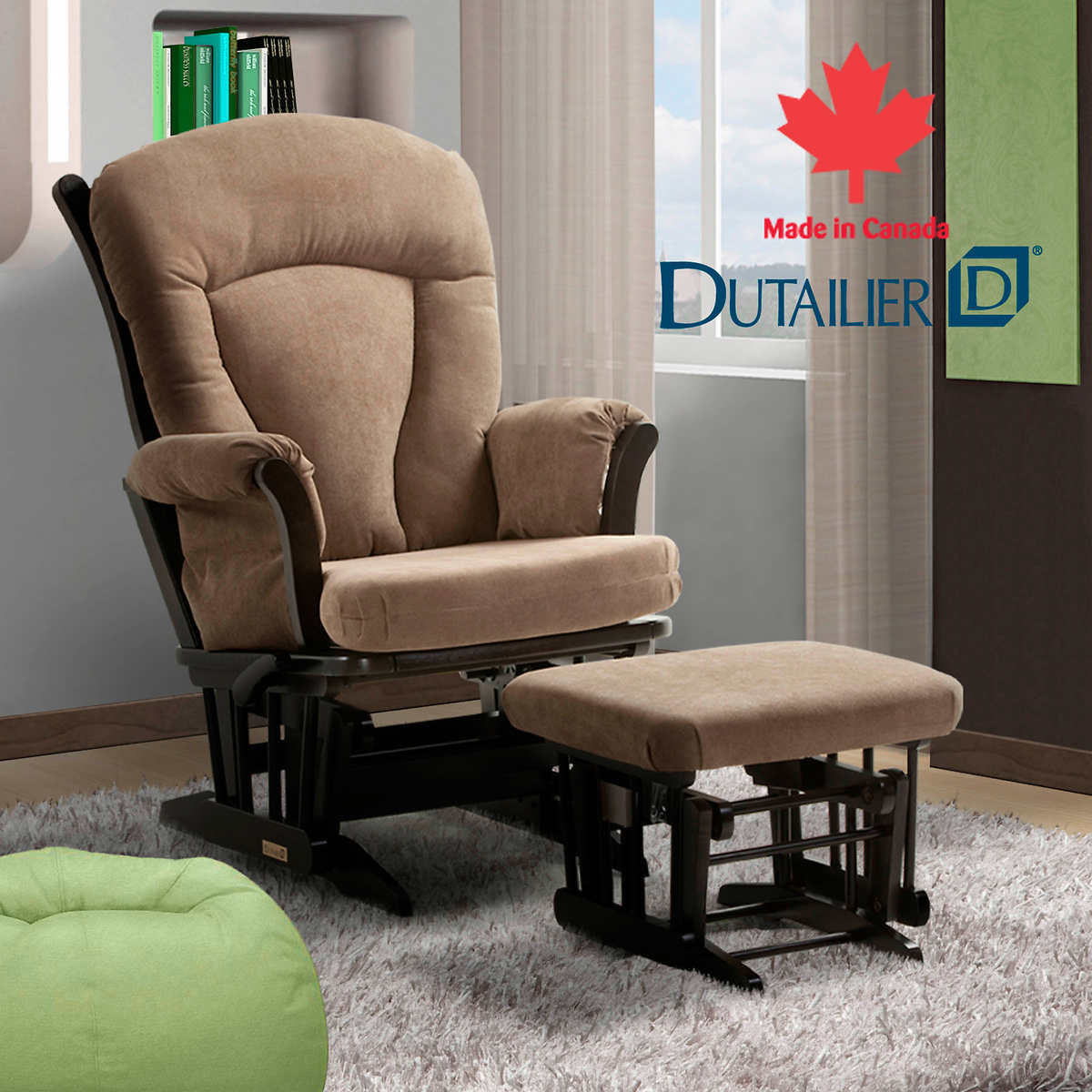 DutailierR Jenny Taupe Multiposition Lock And Recline Glider Ottoman