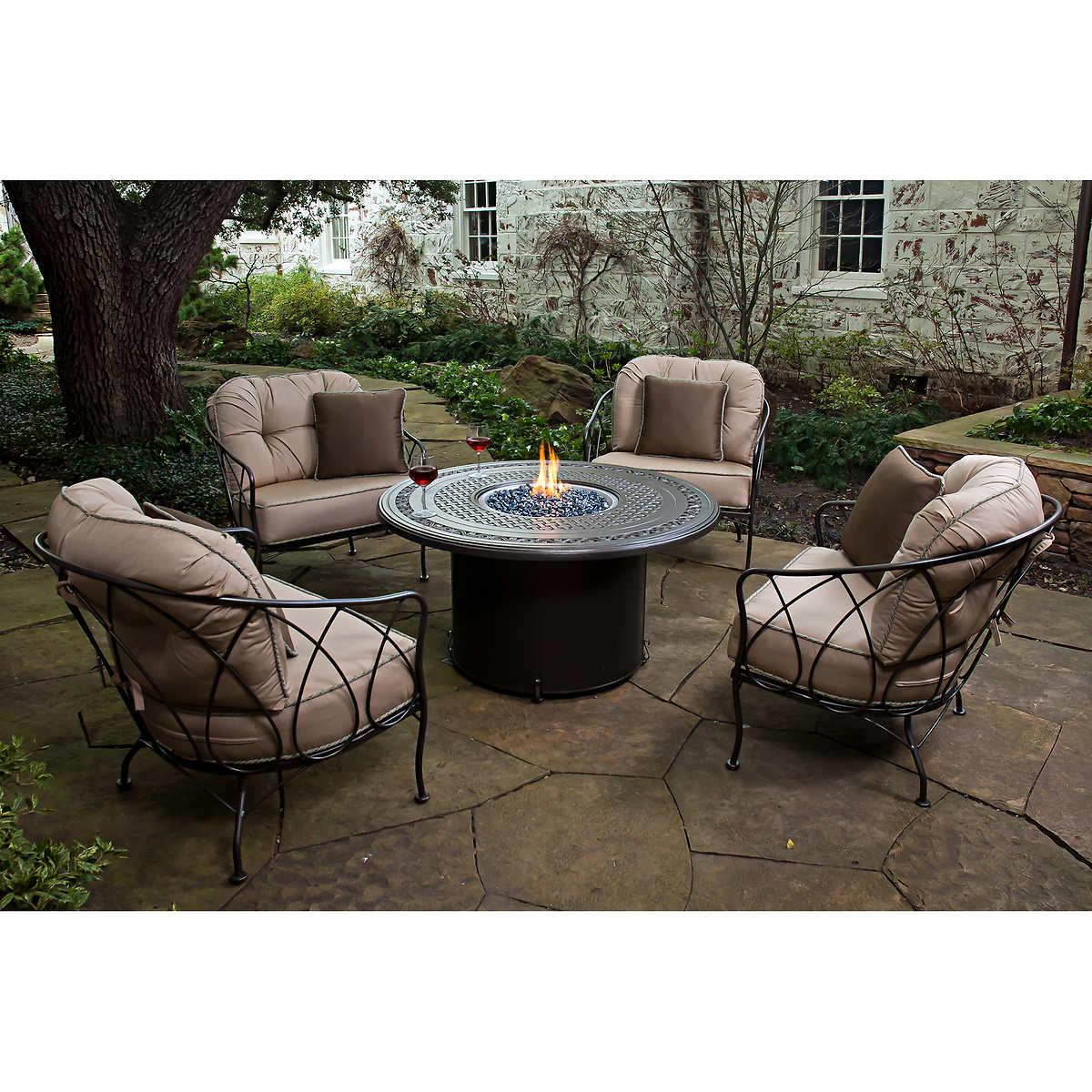 Patio furniture sets costco - Medina 5 Piece Fire Chat Set