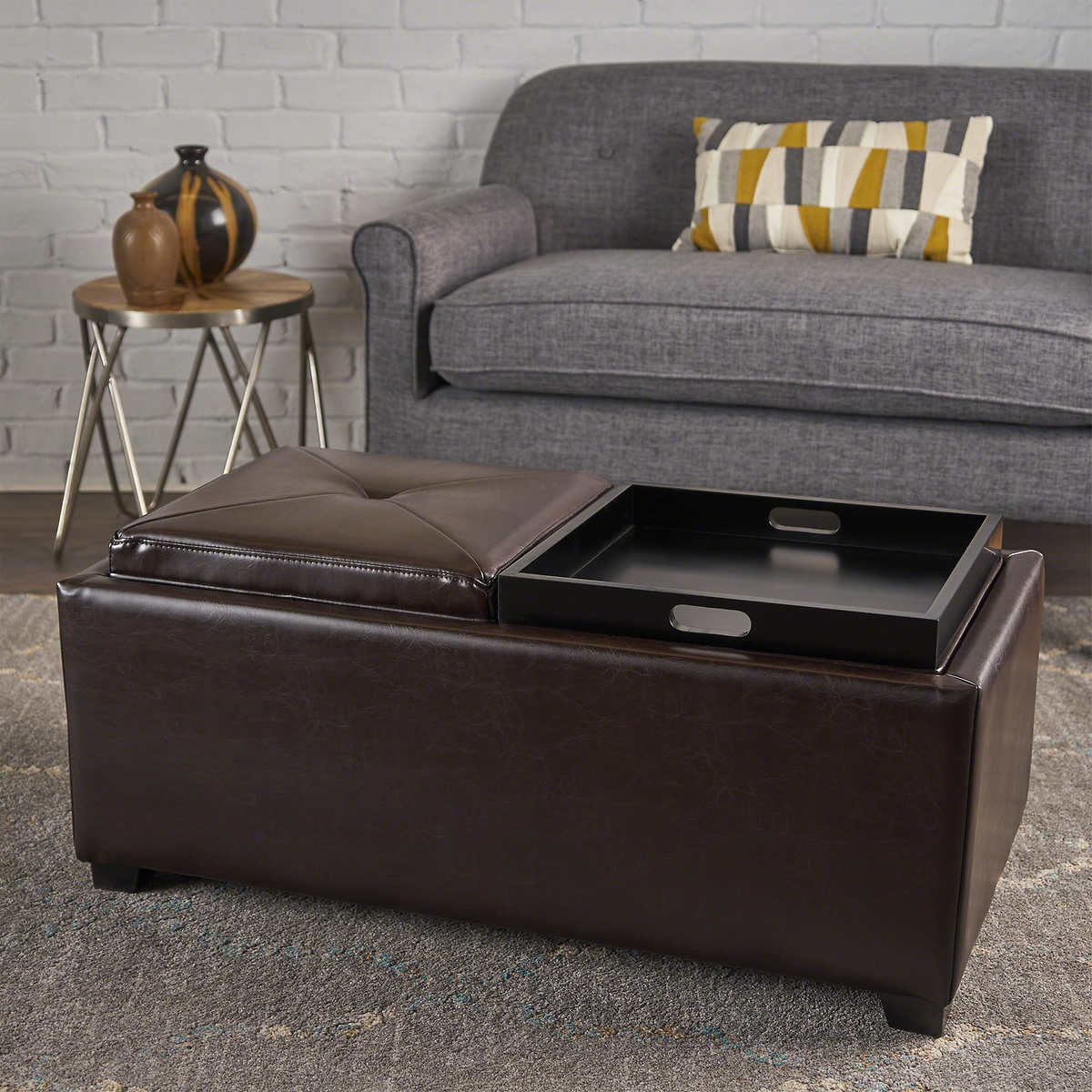 Marcus 2-tray Top Bonded Leather Storage Bench - Ottomans & Benches Costco