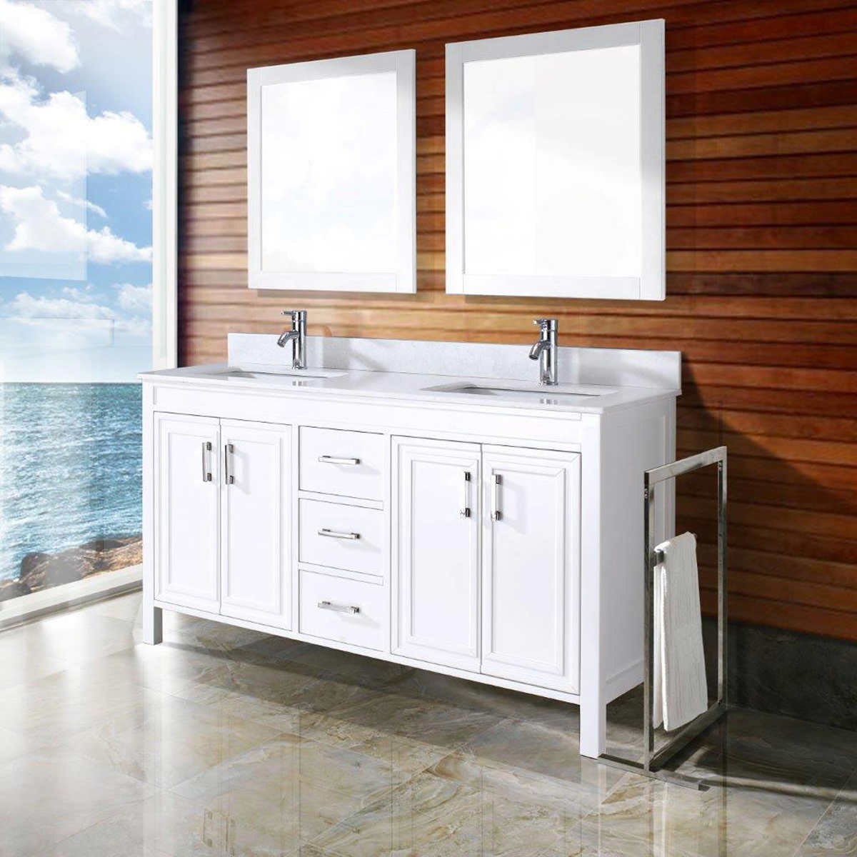 White double bathroom vanity - Corniche 60 White Double Sink Vanity By Studio Bathe
