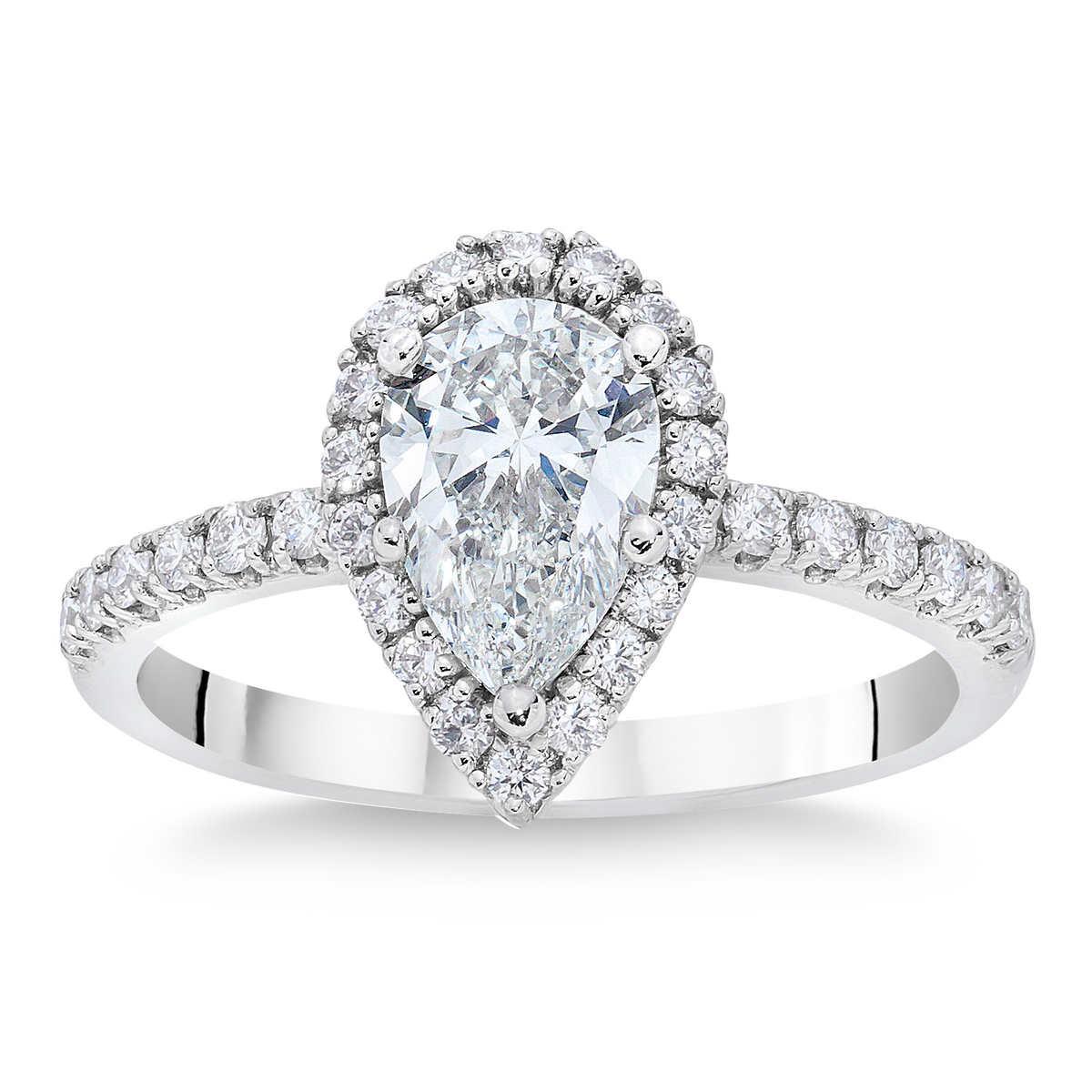 engagement wedding ring Pear Shape 2 52 ctw VS1 Clarity F Color Diamond Platinum Halo Ring