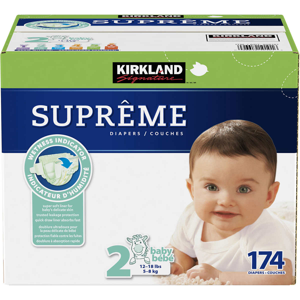 . Kirkland Signature Supreme Diapers Size 2  174 count
