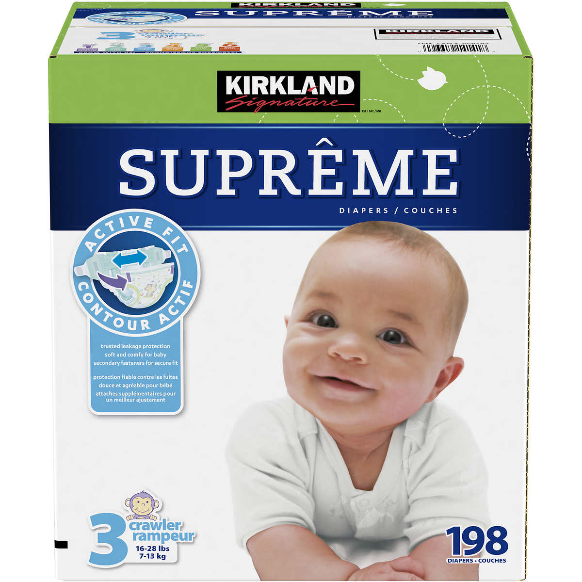 . Kirkland Signature Supreme Diapers Size 3  198 count
