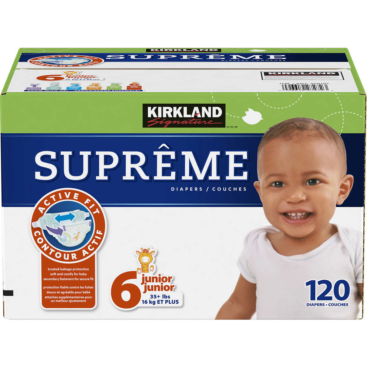 . Kirkland Signature Supreme Diapers Size 6  120 count