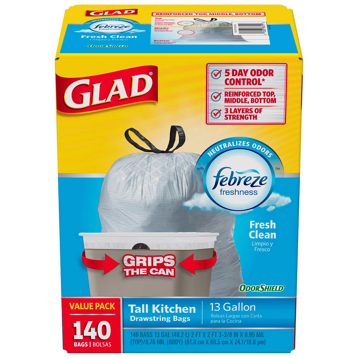 Kirkland Signature Flex-Tech 13 Gallon Kitchen Trash Bags, 200-count