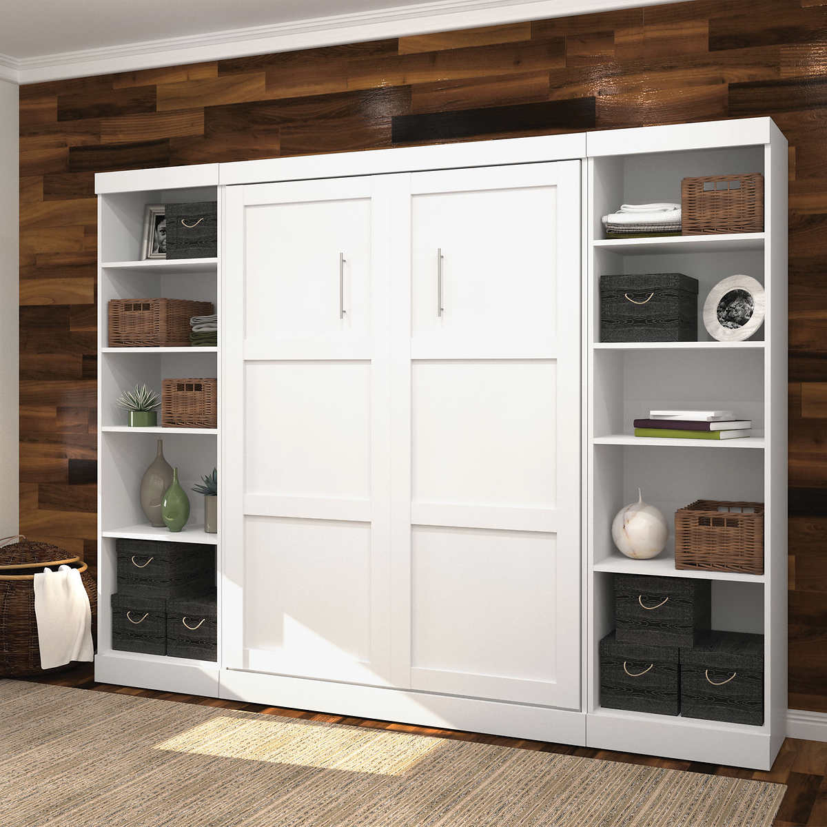Boutique full wall bed with two storage units in white click to zoom amipublicfo Image collections
