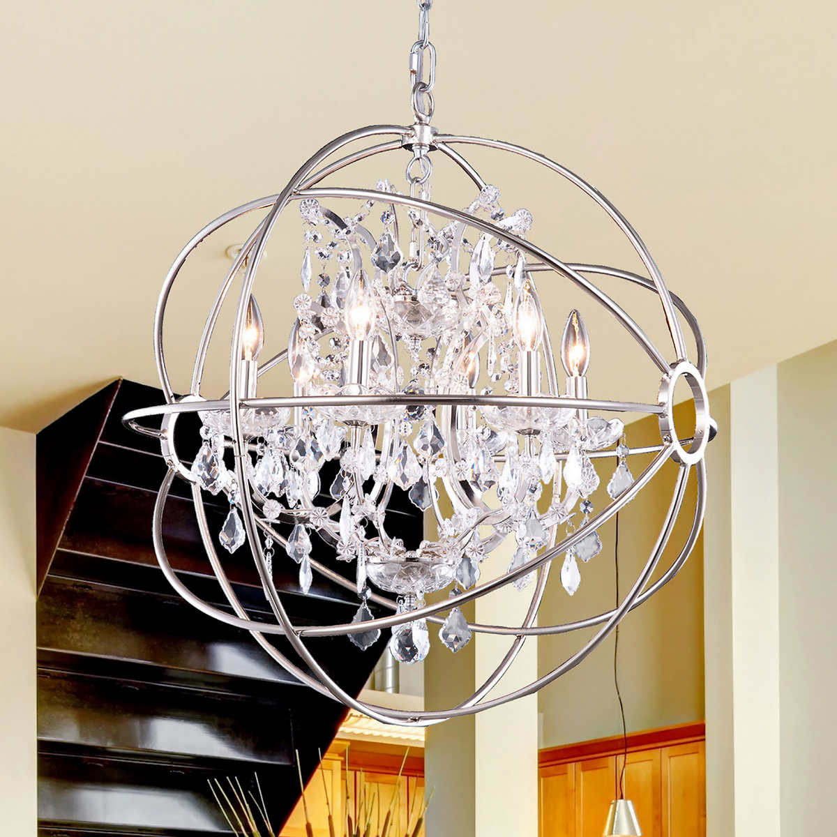 Lighting by pecaso metro chandelier in polished nickel 6 lights click to zoom arubaitofo Gallery