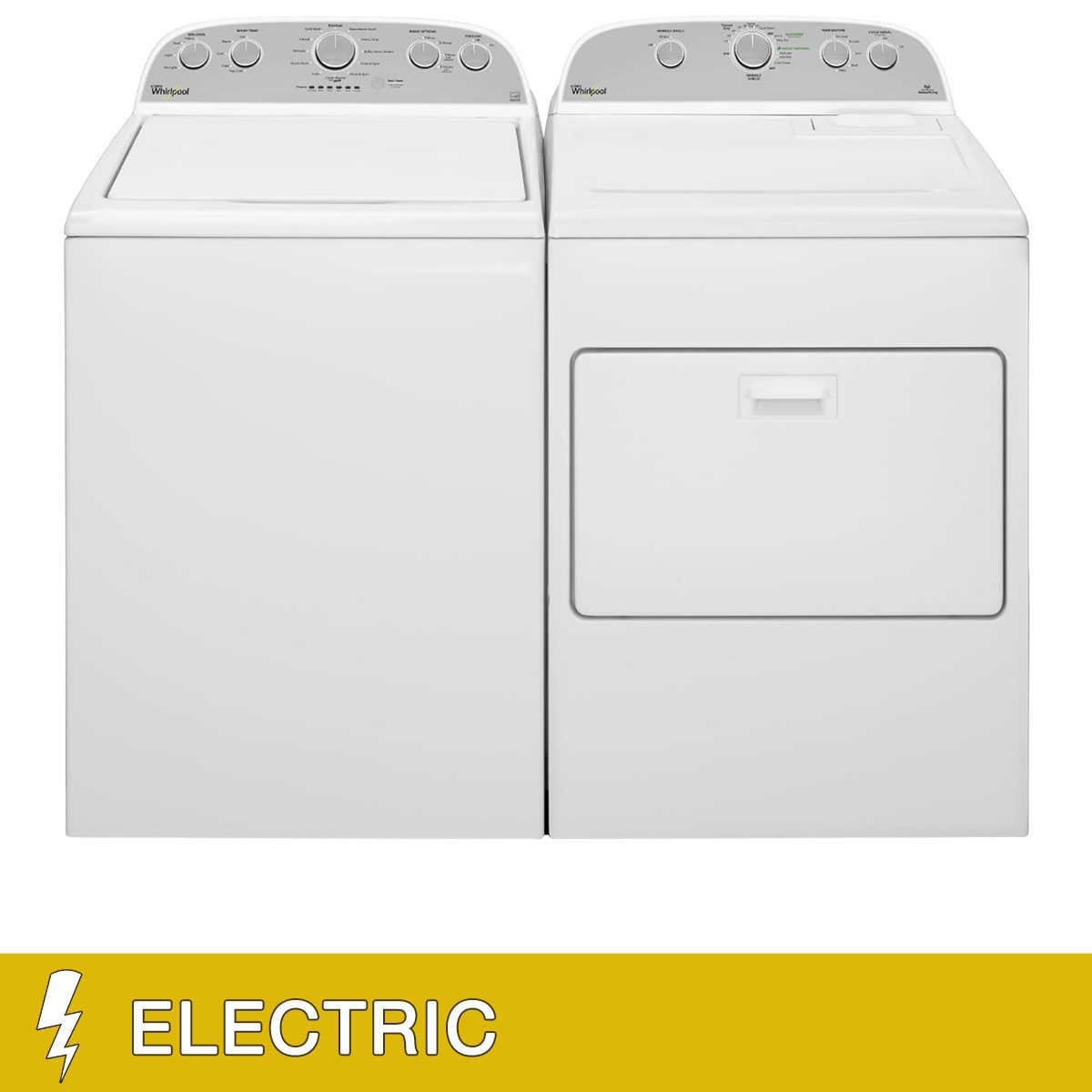 8afdb26b7f8 Whirlpool 4.3CuFt High-Efficiency Top Load Washer 7.0CuFt ELECTRIC Dryer in  White
