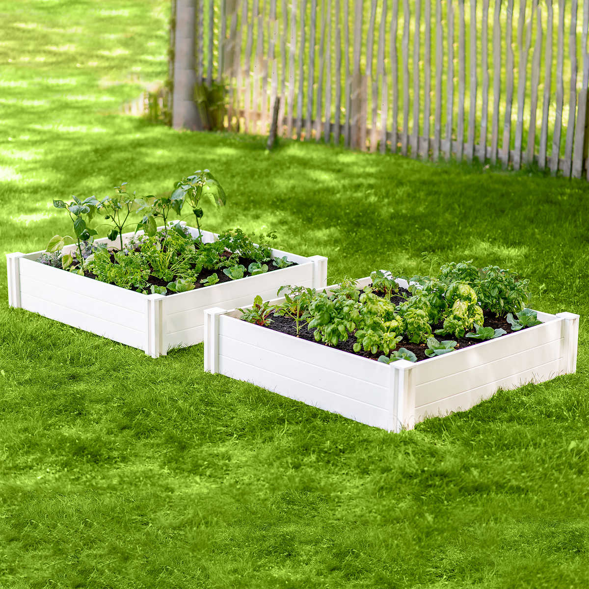 "White Vinyl Raised Garden Bed [48"" L X 48"" W X 11""]"