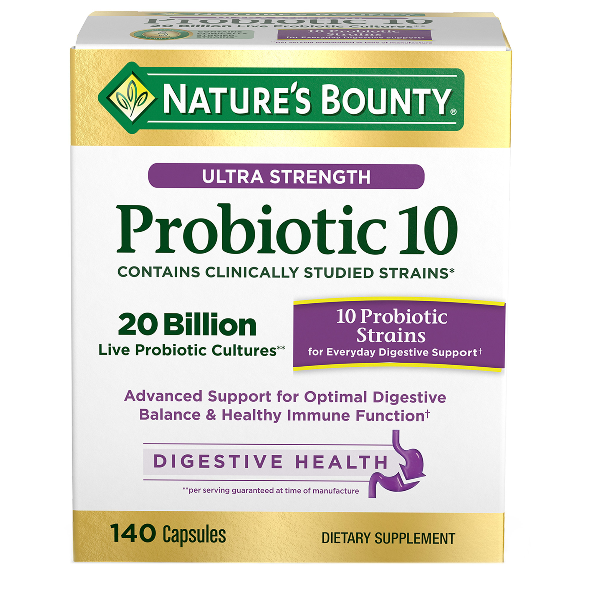 Nature's Bounty Ultra Strength Probiotic 10, 140 Capsules