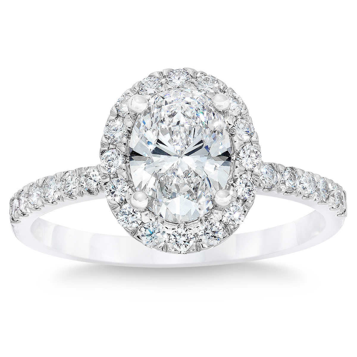 Oval Cut 202 Ctw Vs1 Clarity, D Color Diamond Platinum Halo Ring