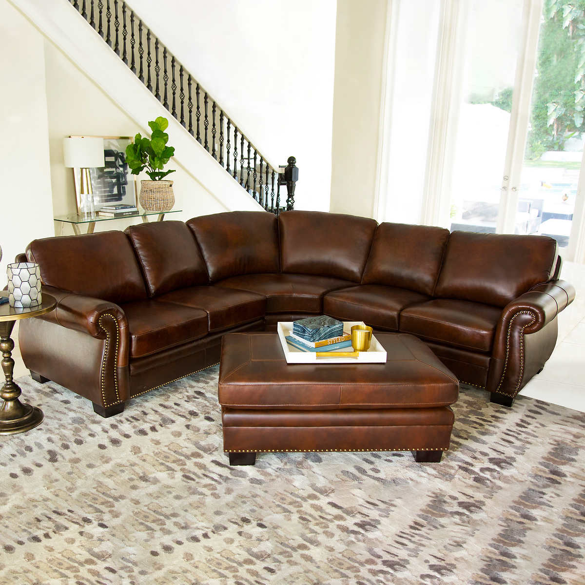 Brown leather living room furniture - Isabelle Top Grain Leather Sectional And Ottoman Living Room Set