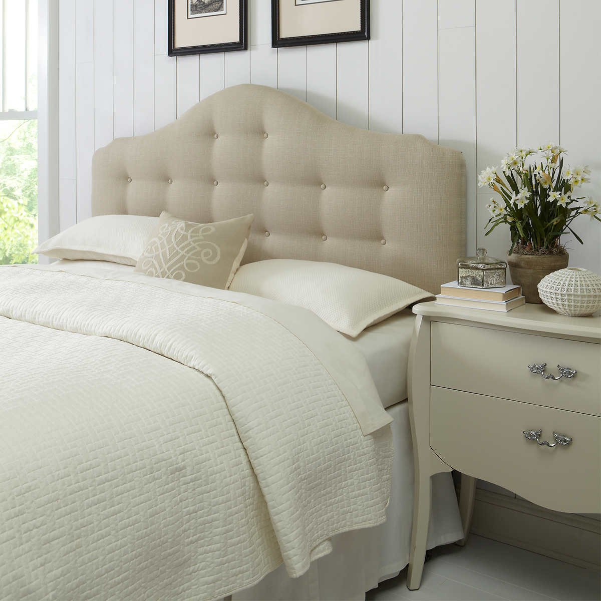 headboards  costco - amanda king upholstered headboard  cream