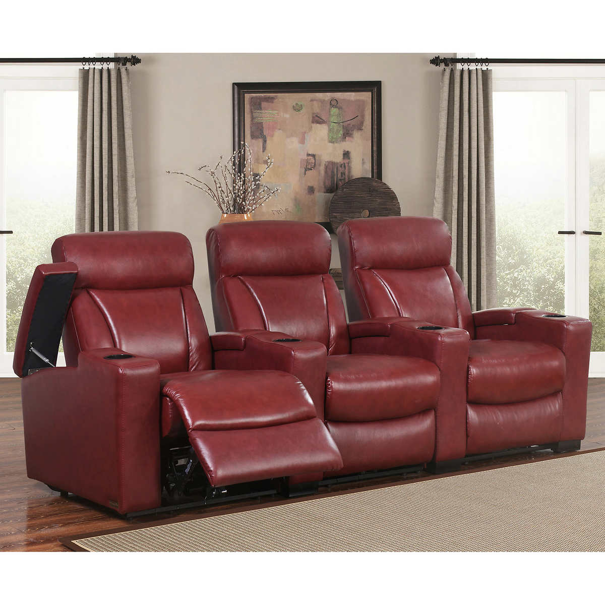 Romano 3 Piece Top Grain Leather Power Media Recliners Living Room Set