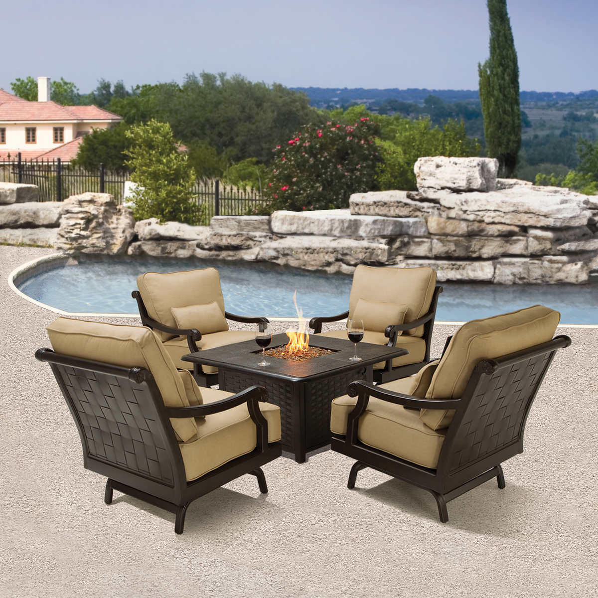 Villa 5-piece Fire Chat Set - Fire Pits & Chat Sets Costco